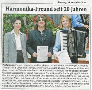 HHF Jubiläumskonzert 2010 in der Presse